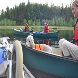 canoe trip in Sweden with dog